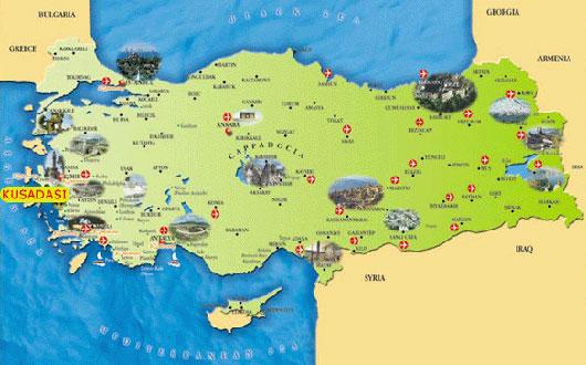 harta turcia kusadasi Destinatii de vacanta: Kusadasi   periplu de neuitat la tarmul  harta turcia kusadasi